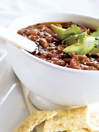 Two Bean Chili with Avocado