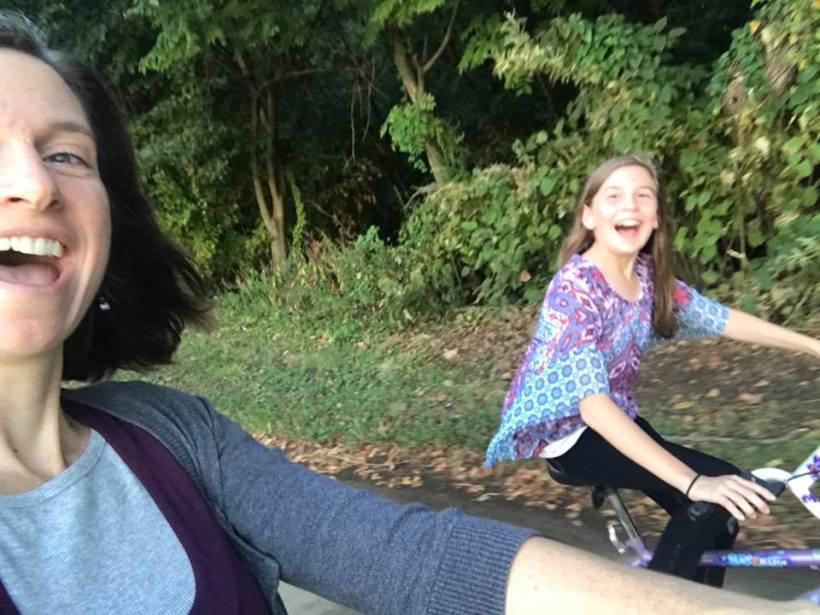 dangerous bike ride selfie